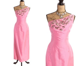 Late 1950s Bubblegum Pink Asymmetrical One Shouldered Full Length Hourglass Dress with Rhinestone Sequin Beaded Flower Details by DuVall's