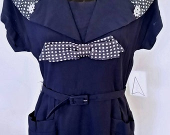 "Vintage 40's 1940's navy crepe rayon dress // polka dot print  // nautical // dream dress // VLV // Rockabilly // pinup // VOLUP 31"" Waist"