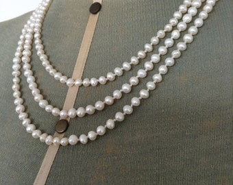 3 Strand Cultured Pearl Necklace with Vintage 9ct Gold and Pearl Clasp