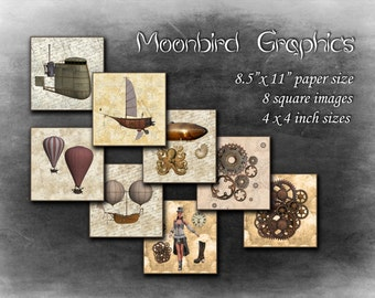 STEAMPUNK– 8 Square Art Images Digital Collage Sheet – 4 x 4 inches -  Printable Download for making coasters and cards