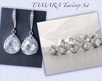 Crystal Jewelry Set, Teardrop Crystal Bridal Set, Bracelet & Earrings Set, Wedding Jewelry Set,  TAMARA.