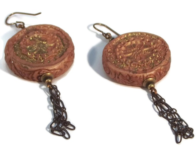 Handmade Reversible Beige Round Clay Shoulder Duster Earrings Nickle Free Brass Ear Wires, Hypo Allergenic, OOAK, One of a kind