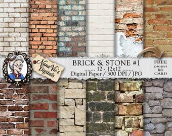 Brick & Stone Digital Paper, seamless backgrounds, brick texture, Scrapbooking Printable, photography brick back drops, 12 H Res 300 DPI