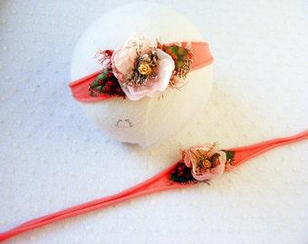 Newborn elastic headband, Flower headband, Photography prop headband, Baby headband, Newborn photo prop