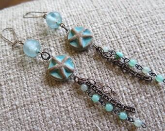 starfish earrings, beach earrings, summer earrings, cruise earrings, vacation earrings, long earrings, chain earrings, long earrings, fun