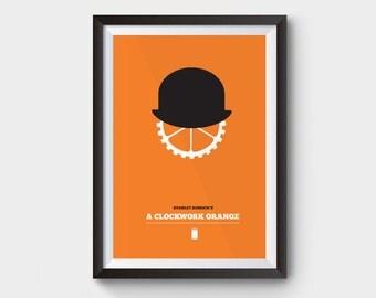 La naranja mecanica - cartel de la película de A3, cartel de la película, impresión, minimalista, stanley kubrick, película de culto, kubrick, el brillante, Odisea en el espacio