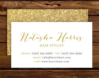 Calling Card #5 - Calligraphy | Gold Glitter | Faux Glitter | Business Card | Social Correspondence