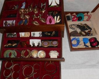 50 pair Vintage Pierced Earrings Costume Jewelry