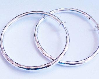 Clip-on Earrings Hoop Earrings Rhodium Hoop Hypo-Allergenic Earrings Silver tone Clip Hoops 2 inch