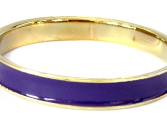 Vintage Bangle Gold Tone Purple Lined 0.30 inch Bangle 2.5 inch Open Purple Enamel Bangle