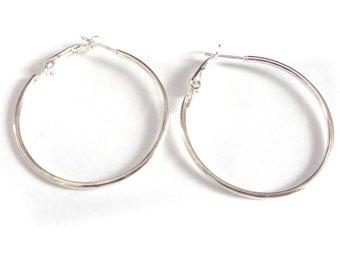 1.5 inch Small Thin Hoop Earrings Silver Tone Hoop Earrings 1.5 Inch