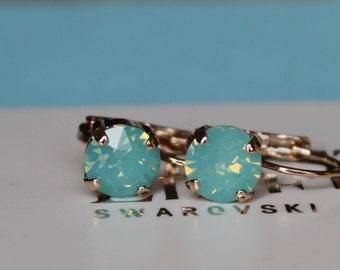Rose Gold Plated Leverback Pacific Opal Earrings made with Swarovski Crystal Elements by LacyCJewellery