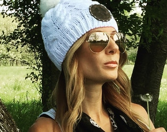 Women's and Teen's Rabbit Fur Pom Pom Beanie with Your Choice of Yin Yang, Skull or Peace Sign Leather Patch.