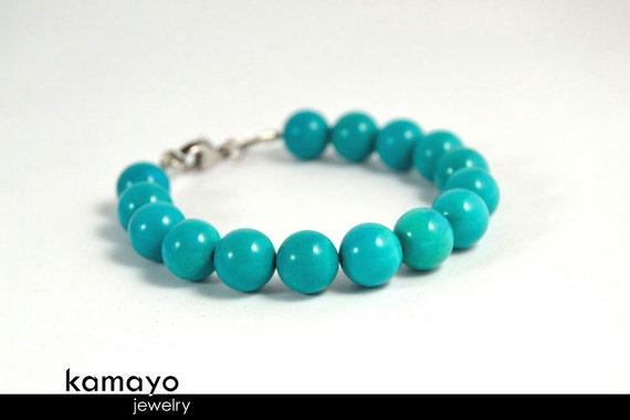 """BLUE TURQUOISE BRACELET - Round Turqoise Beads - Fits Wrist of Up to 6"""""""