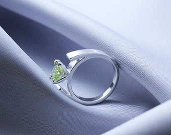 Snow White Engagement Ring Stainless Steel Green Crystal Fairytales all size available