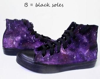 Custom handpainted purple galaxy sneakers,personalized shoes, galaxy converse, galaxy vans