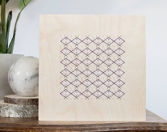 "Silver, white and purple geometric stitch pattern on 8"" x 8"" natural Birch wood panel. Embroidery modern design. Home decor Wood embroidery"