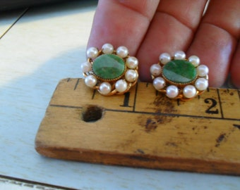 Jade, pearl and 12k gold filled earrings