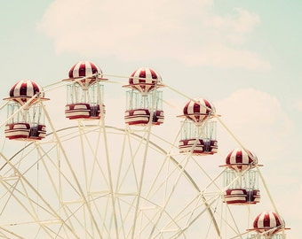 Ferris Wheel - Photography Print - Wall Art - Vintage Wall Art - Red and White - Nursery Print