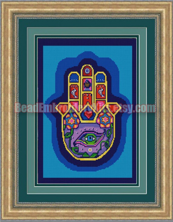 Hamsa the Hand of God DIY bead embroidery kit beaded painting craft set