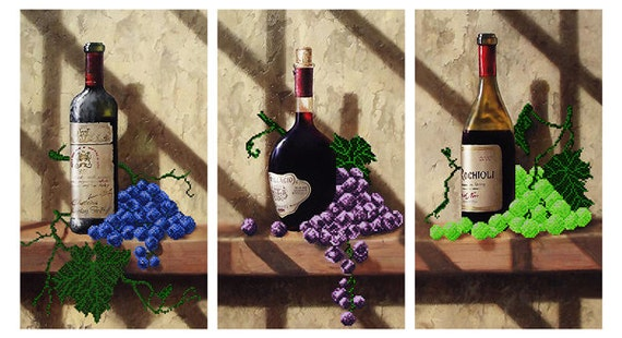 Wine Collection Triptych DIY bead embroidery kit unique Gift Idea, beading set, needlework,