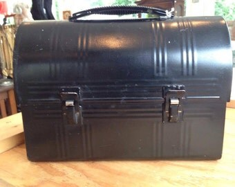 1950s Black Metal Lunch Box with Thermos