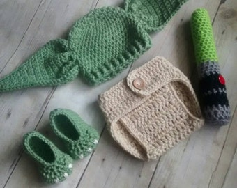 Yoda inspired crochet  costume or photo props