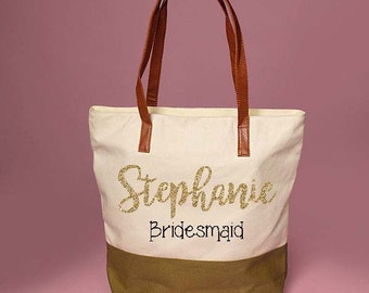 Custom Olive and Cream Bridesmaid Tote Bag