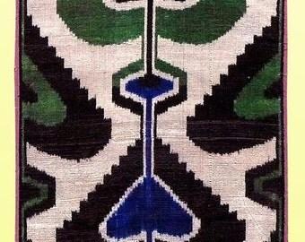 "uzbek pure silk ikat handcrafted abr velvet fabric ""bakhmal"" a7216"