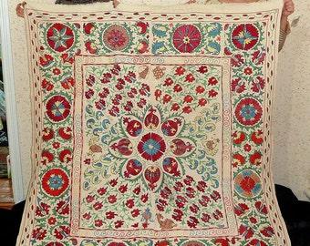large! breathtaking uzbek fully silk hand embroidery suzani from bukhara a7599