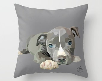 Pit Bull Terrier Puppy, Home Decor Pillow Cover 18x18, Custom Vector Art, Cute Pitbull