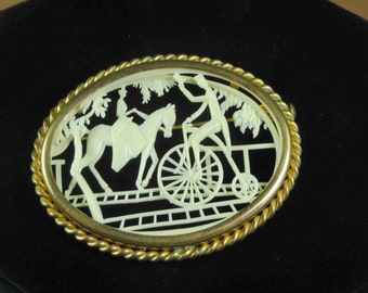 FRANCE - Charming Scene Celluloid Brooch