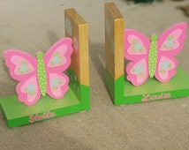 Bookends Wood Pink Green Butteflies Childrens Bookends Toddler Fox Wood Personalized Wood Bookends Clouds