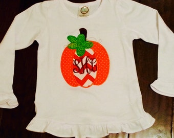 Fall Pumpkin Embroidered Applique All in One Romper or T-Shirt