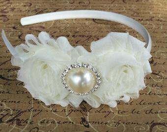 Ivory Shabby Chic, Flower Girl Headband, baby hair bows, wedding headband, baby headband, hard headband, toddler headband, bridesmaid