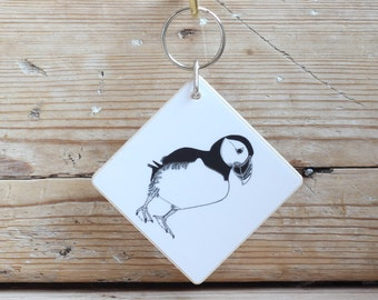 Wooden 'Puffin' keyring