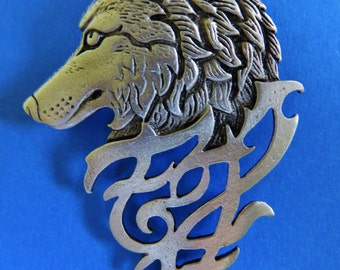 JJ Jonette Pewter Silver Wolf Brooch Pin