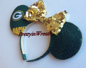 Green Bay Packers inspired Mickey Mouse ears headband
