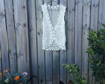70's Boho Crochet Vest