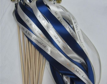 80 Personalized Wedding wands double streamer with bells. Birthday, ceremony, sendoff