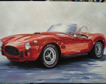 "Shelby Cobra sports car painting oil painting on canvas 28""X40"""
