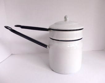 Vintage Blue and White Enamelware Double Boiler