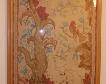 Vintage Mid Century/Hollywood Regency Very Large Stitched Art / Artwork