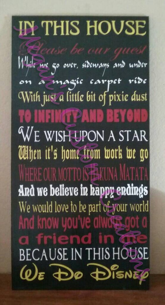 12x24 Custom Wood In This House We Do Disney By