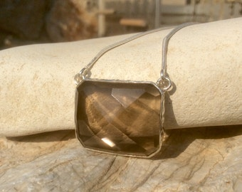 Smokey Quartz Necklace, Gemstone Silver Necklace, Classic Smokey Quartz Gemstone Necklace, Gift for Her, Brown Stone Pendant Necklace