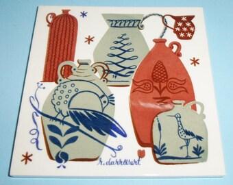 Country Print Tiles Trivet Stoneware Jugs Pitchers Design by Robert darr Wert From Ceramo of New York Vintage Tile Trivet