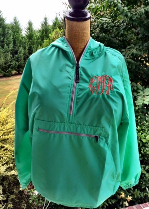 Monogrammed Rain Jacket-Mint-Raincoat Jacket Pullover-Charles