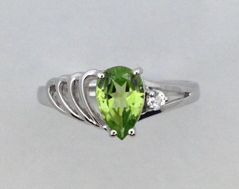 Natural Peridot with Natural White Topaz Ring 925 Sterling Silver