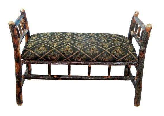 Rustic Hickory Sleigh Bench Upholstered With Pine Cone Fabric