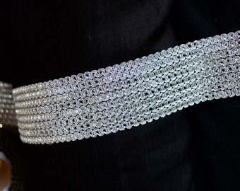 Brilliant silver chained knitting broad trim